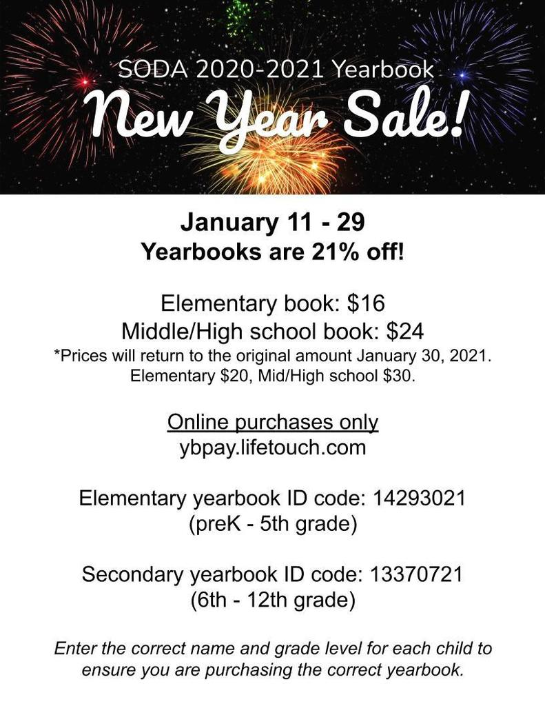 flyer describing the price of yearbooks